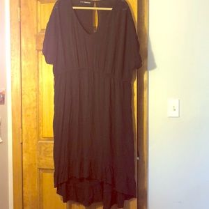 High low black dress with sleeves